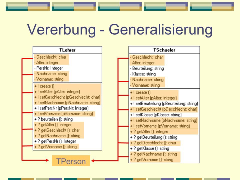 TPerson Vererbung - Generalisierung