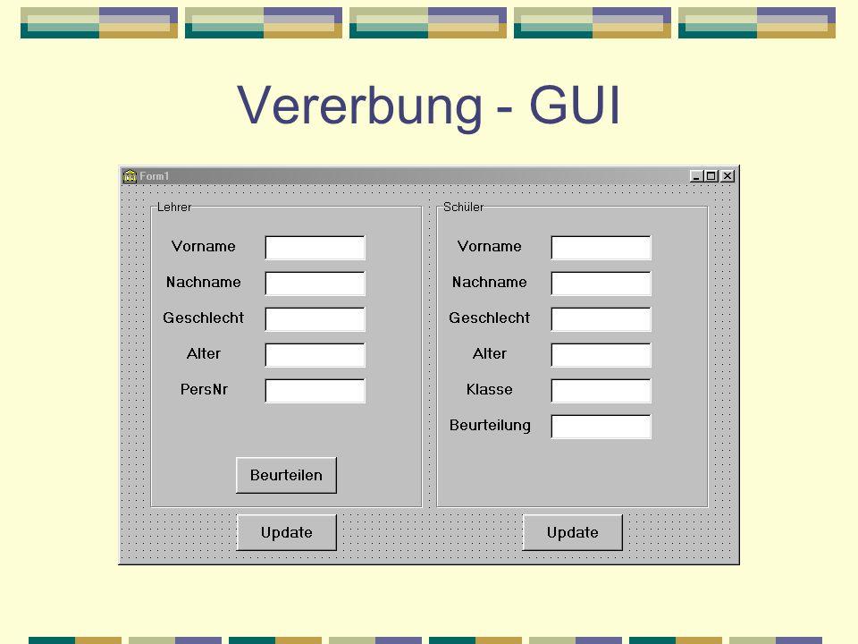 Vererbung - GUI