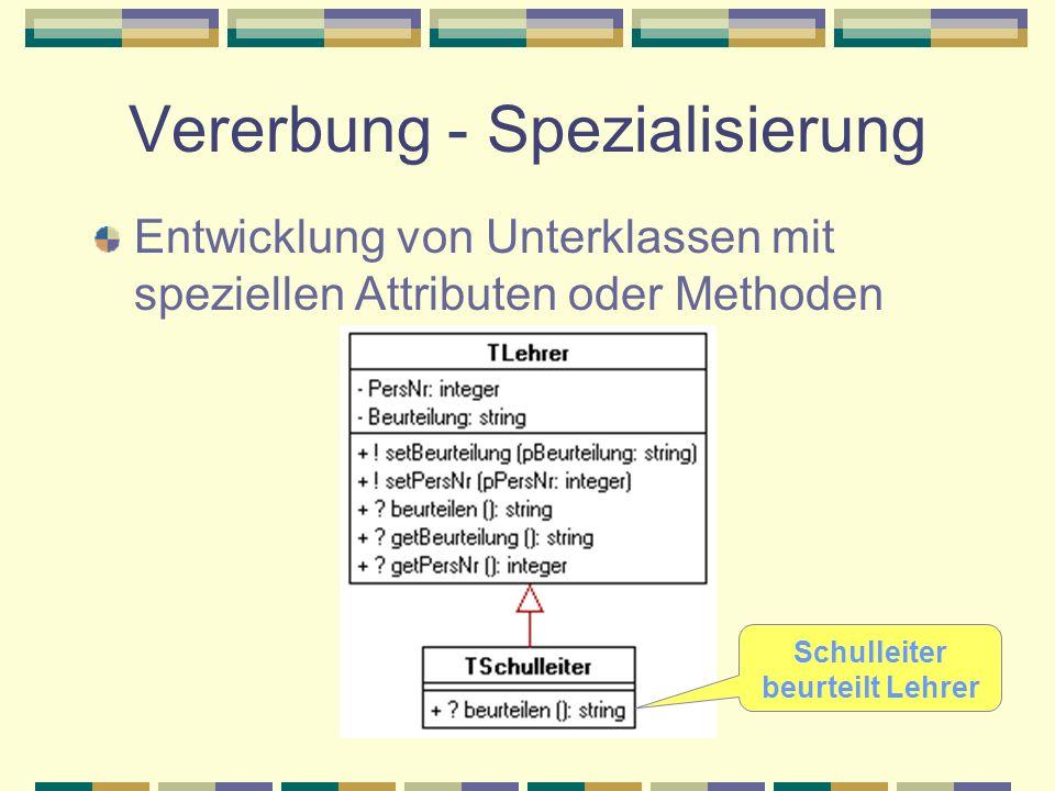 Vererbung - Spezialisierung Entwicklung von Unterklassen mit speziellen Attributen oder Methoden Schulleiter beurteilt Lehrer