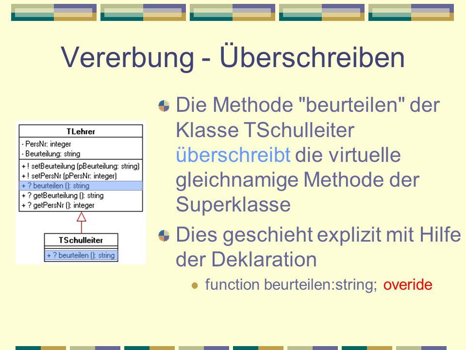 Vererbung - Überschreiben Die Methode