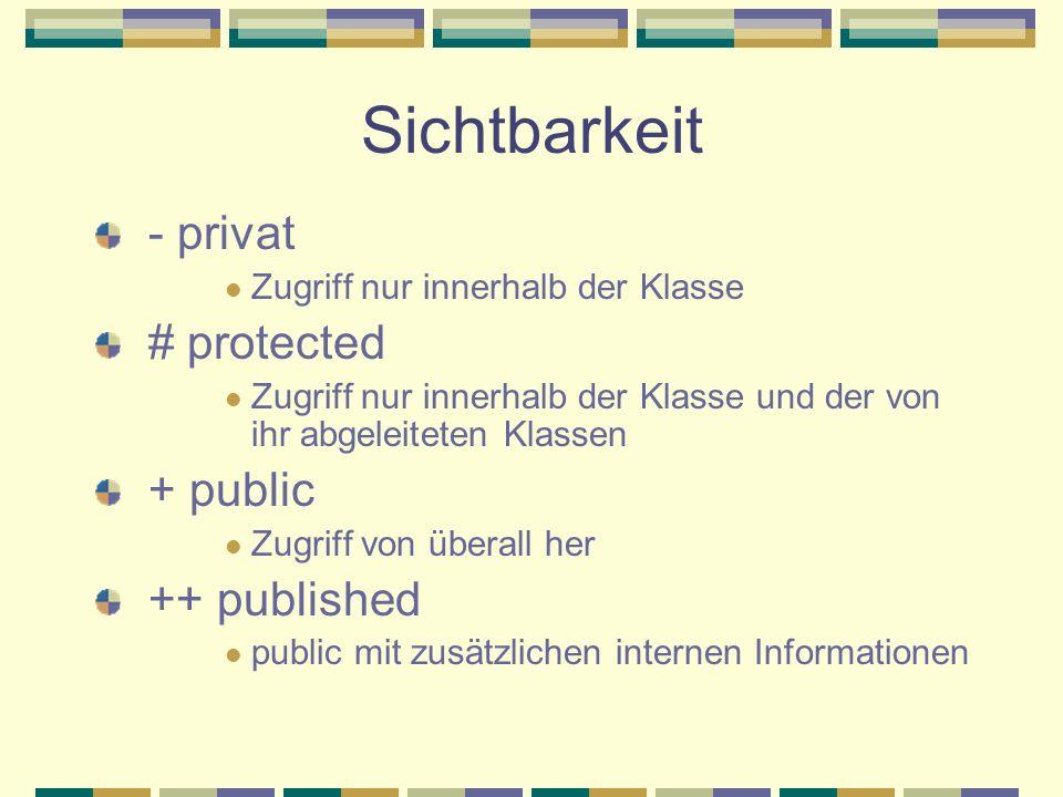 Sichtbarkeit - privat Zugriff nur innerhalb der Klasse # protected Zugriff nur innerhalb der Klasse und der von ihr abgeleiteten Klassen + public Zugr