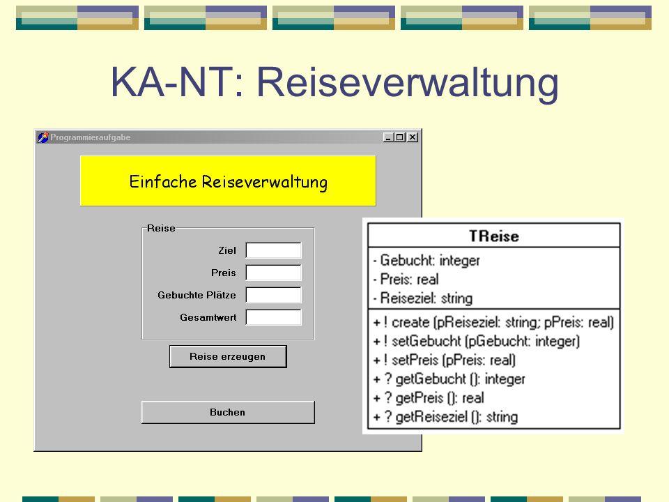 KA-NT: Reiseverwaltung