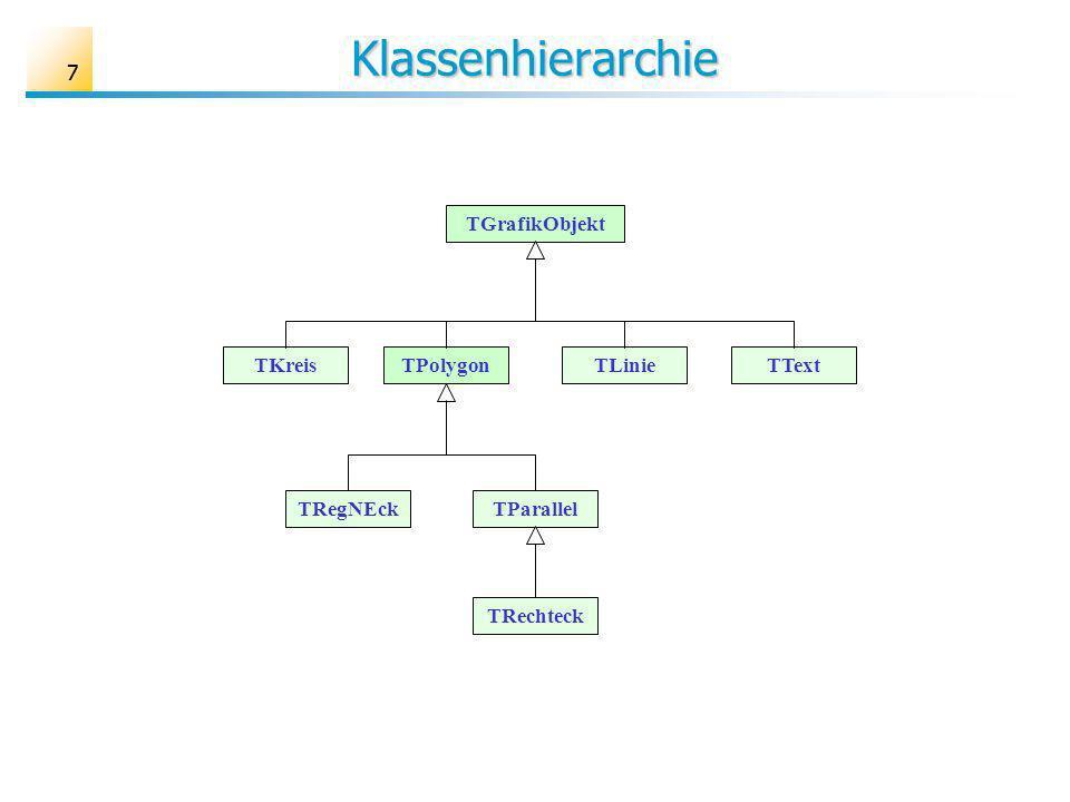 77 Klassenhierarchie TGrafikObjekt TKreisTPolygonTTextTLinie TRegNEck TRechteck TParallel
