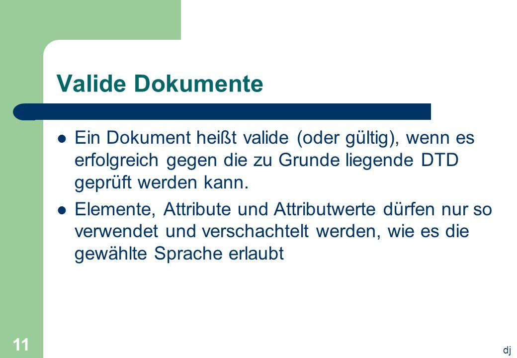 dj 11 Valide Dokumente Ein Dokument heißt valide (oder gültig), wenn es erfolgreich gegen die zu Grunde liegende DTD geprüft werden kann. Elemente, At