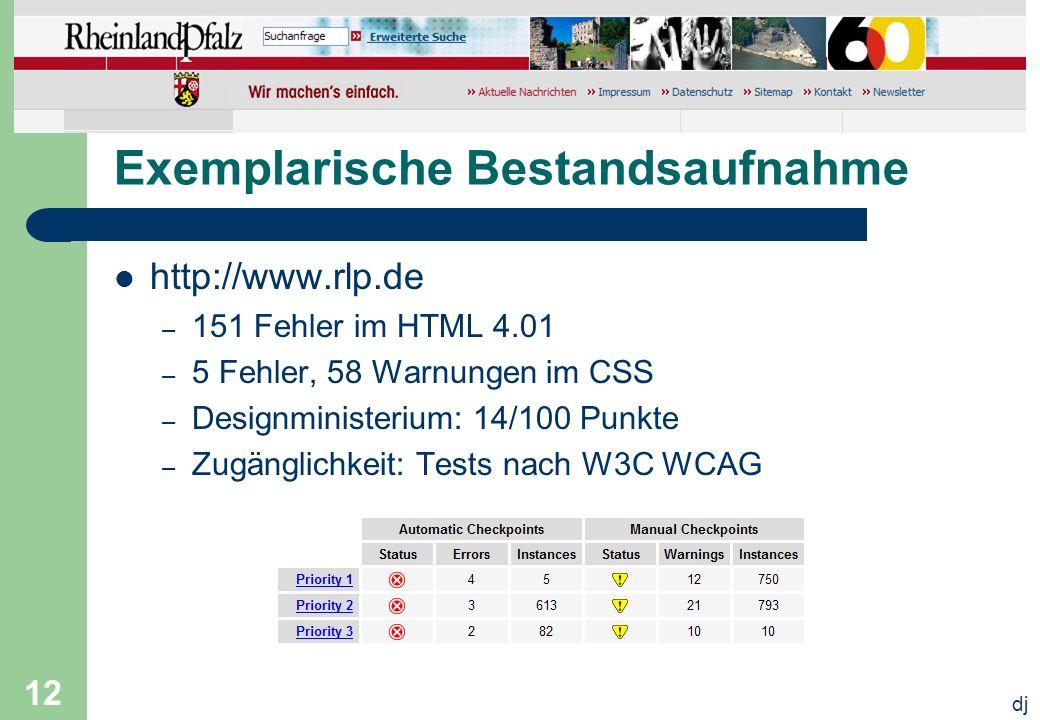 dj 12 Exemplarische Bestandsaufnahme http://www.rlp.de – 151 Fehler im HTML 4.01 – 5 Fehler, 58 Warnungen im CSS – Designministerium: 14/100 Punkte –