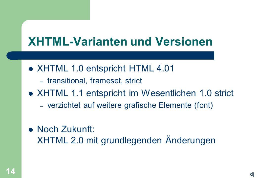 dj 14 XHTML-Varianten und Versionen XHTML 1.0 entspricht HTML 4.01 – transitional, frameset, strict XHTML 1.1 entspricht im Wesentlichen 1.0 strict –