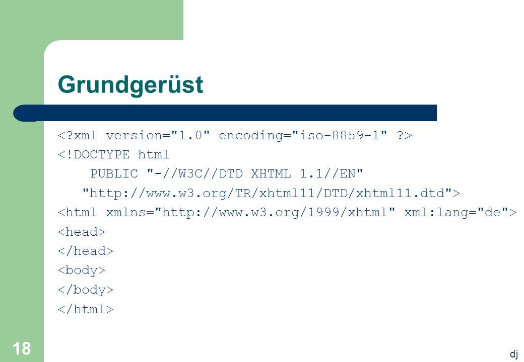 dj 18 Grundgerüst <!DOCTYPE html PUBLIC