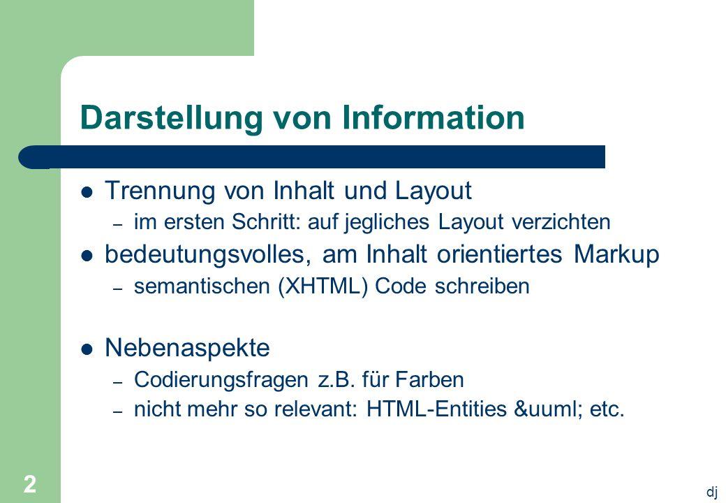 dj 2 Darstellung von Information Trennung von Inhalt und Layout – im ersten Schritt: auf jegliches Layout verzichten bedeutungsvolles, am Inhalt orien