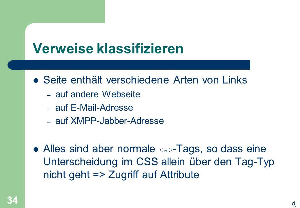 dj 34 Verweise klassifizieren Seite enthält verschiedene Arten von Links – auf andere Webseite – auf E-Mail-Adresse – auf XMPP-Jabber-Adresse Alles si