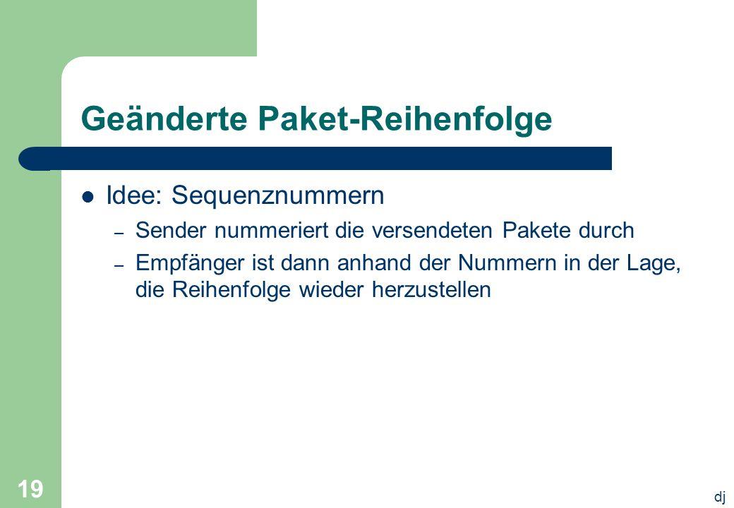 dj 19 Geänderte Paket-Reihenfolge Idee: Sequenznummern – Sender nummeriert die versendeten Pakete durch – Empfänger ist dann anhand der Nummern in der