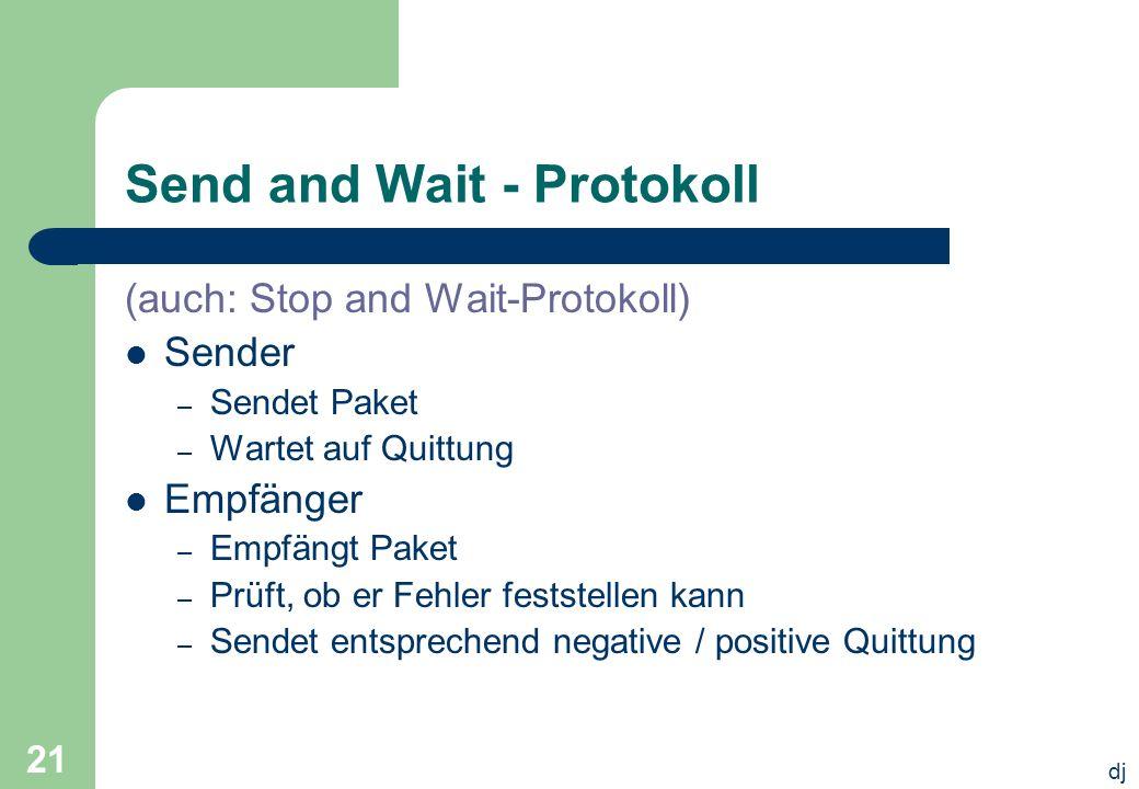 dj 21 Send and Wait - Protokoll (auch: Stop and Wait-Protokoll) Sender – Sendet Paket – Wartet auf Quittung Empfänger – Empfängt Paket – Prüft, ob er