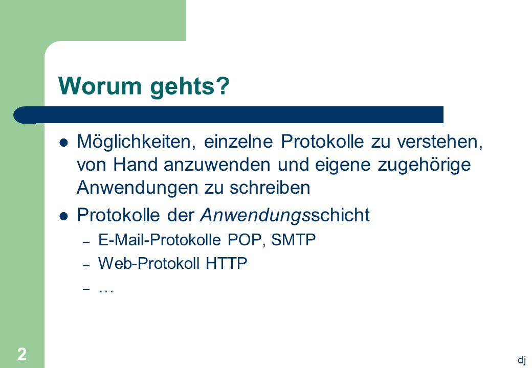 dj 2 Worum gehts? Möglichkeiten, einzelne Protokolle zu verstehen, von Hand anzuwenden und eigene zugehörige Anwendungen zu schreiben Protokolle der A