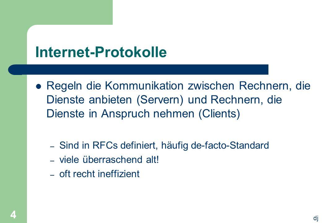 dj 5 Internet-Protokolle Definieren – Format und Vokabular der übertragenen Daten ASCII, EBCDIC, unicode Festlegung in ABNF (Augmented Backus Naur Form) sowie – das erwartete Verhalten der Kommunizierenden meist zustandsorientiert in der Form: Server kann, Server muss, Server darf – wenn auch ungern