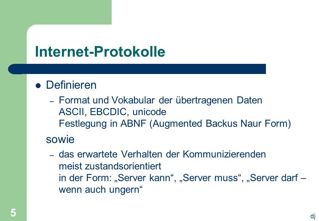 dj 5 Internet-Protokolle Definieren – Format und Vokabular der übertragenen Daten ASCII, EBCDIC, unicode Festlegung in ABNF (Augmented Backus Naur For
