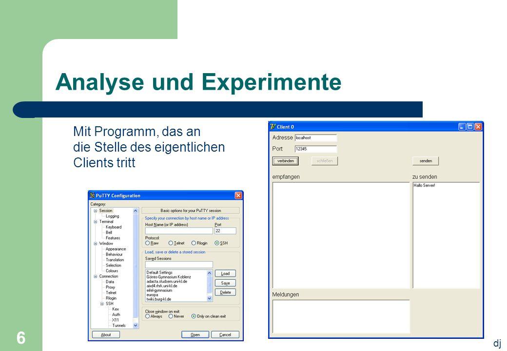 dj 6 Analyse und Experimente Mit Programm, das an die Stelle des eigentlichen Clients tritt