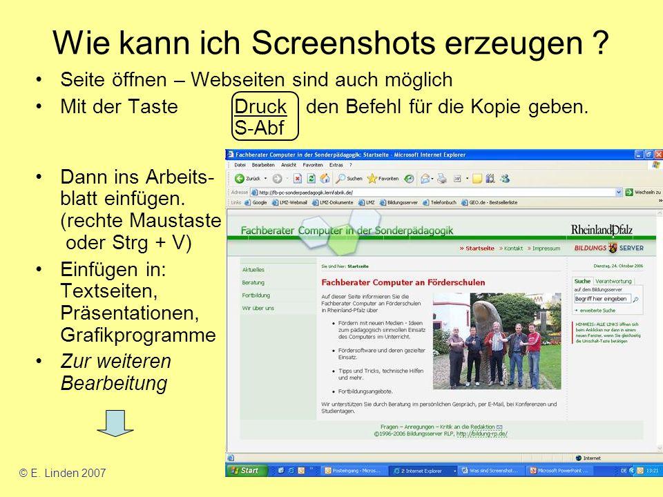Wie kann ich Screenshots erzeugen .