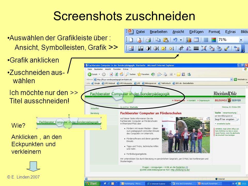 Screenshots zuschneiden Auswählen der Grafikleiste über : Ansicht, Symbolleisten, Grafik >> Grafik anklicken Zuschneiden aus- wählen Ich möchte nur den >> Titel ausschneiden.