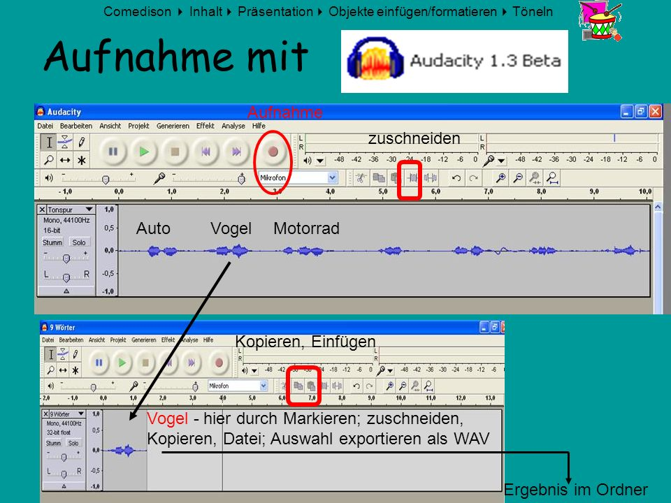 Comedison Inhalt Präsentation Objekte einfügen/formatieren Töneln © 2008 Erwin Linden Aufnahme mit Vogel - hier durch Markieren; zuschneiden, Kopieren
