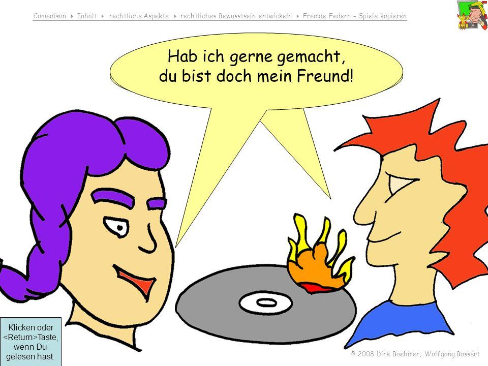 Comedison Inhalt rechtliche Aspekte rechtliches Bewusstsein entwickeln Fremde Federn – Spiele kopieren © 2008 Dirk Boehmer, Wolfgang Bossert Ist ja to