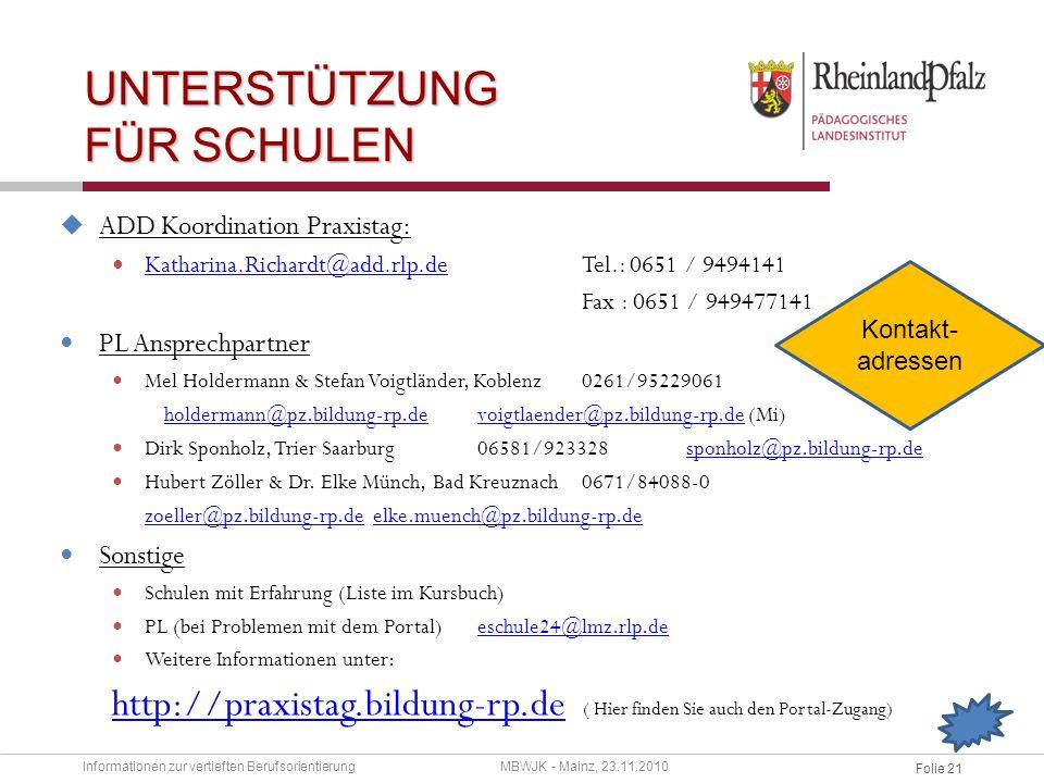 Folie 20 EVALUATION Schule ZAPT/ PL Nach der Durchführung bitte den Projektbericht ausfüllen und an vbo@netzwerk-boris.de senden.