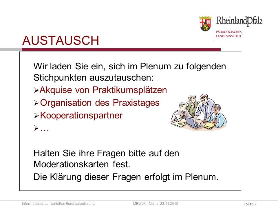 Folie 22 PRAXISTAG VIELEN DANK FÜR IHRE AUFMERKSAMKEIT Informationen zur vertieften BerufsorientierungMBWJK - Mainz, 23.11.2010