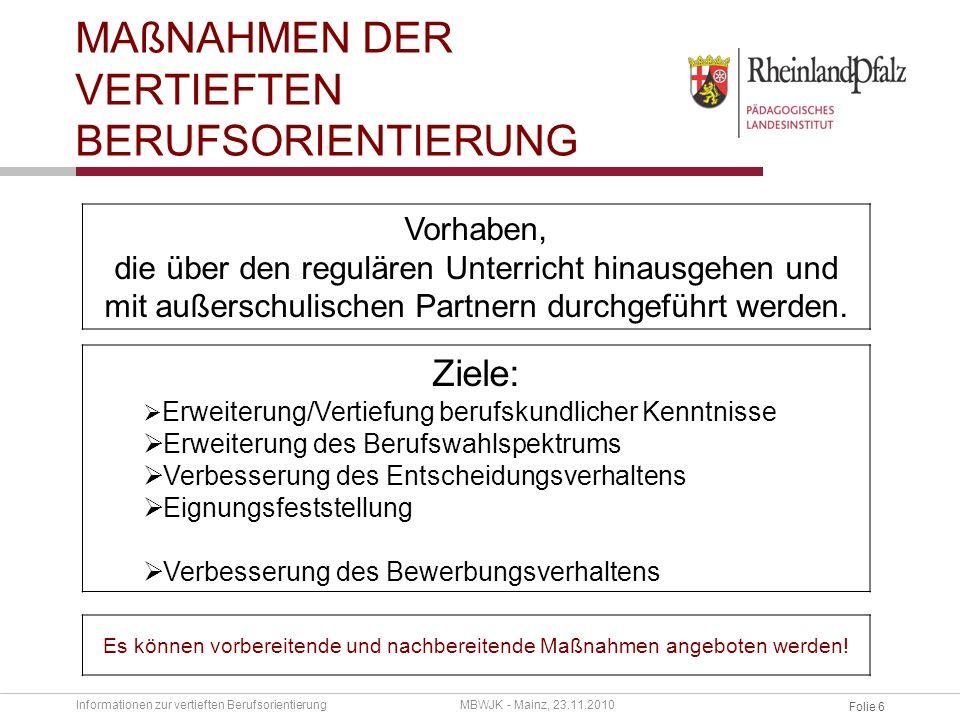 Folie 5 Informationen zur vertieften BerufsorientierungMBWJK - Mainz, 23.11.2010 Hauptnavigation Downloads Telefonsupport Aktuelles Weitere tel.
