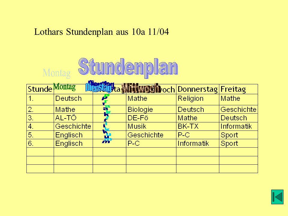 Lothars Stundenplan aus 10a 11/04