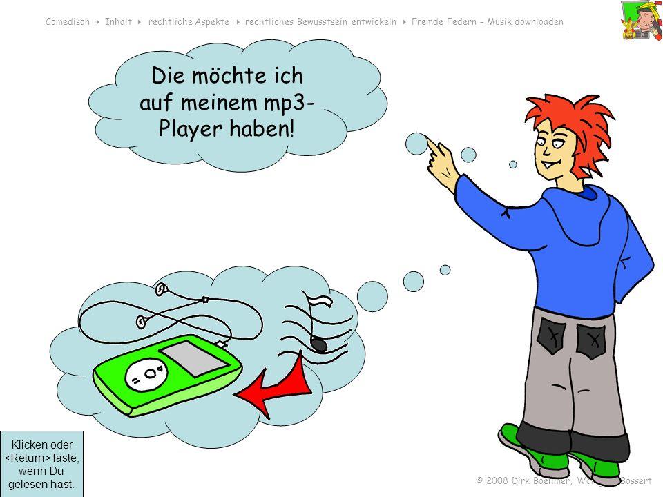 Comedison Inhalt rechtliche Aspekte rechtliches Bewusstsein entwickeln Fremde Federn – Musik downloaden © 2008 Dirk Boehmer, Wolfgang Bossert Klicken oder Taste, wenn Du gelesen hast.