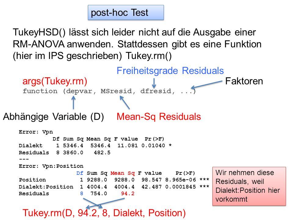 post-hoc Test TukeyHSD() lässt sich leider nicht auf die Ausgabe einer RM-ANOVA anwenden. Stattdessen gibt es eine Funktion (hier im IPS geschrieben)