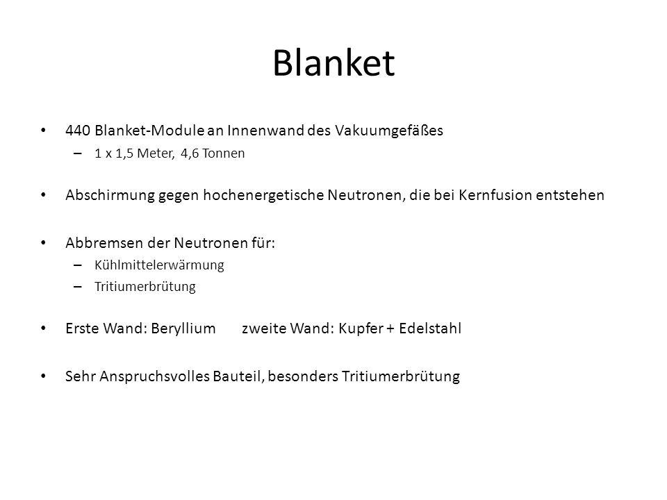 440 Blanket-Module an Innenwand des Vakuumgefäßes – 1 x 1,5 Meter, 4,6 Tonnen Abschirmung gegen hochenergetische Neutronen, die bei Kernfusion entsteh