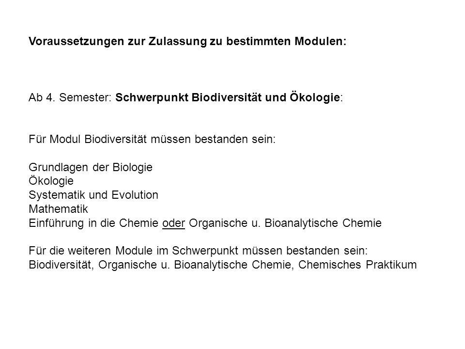 Voraussetzungen zur Zulassung zu bestimmten Modulen: Ab 4. Semester: Schwerpunkt Biodiversität und Ökologie: Für Modul Biodiversität müssen bestanden