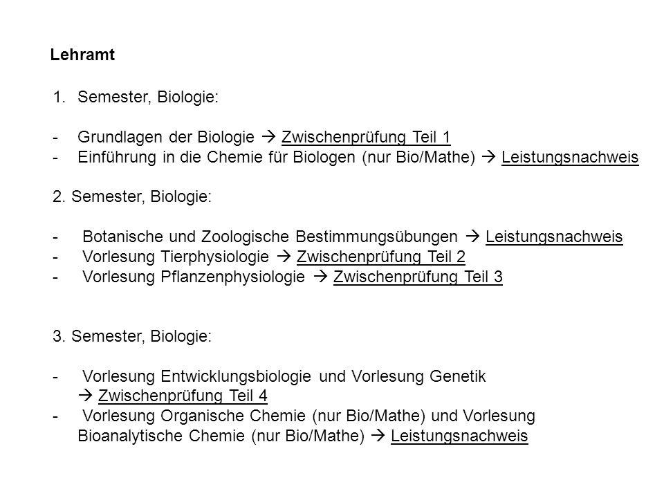 Lehramt 1.Semester, Biologie: -Grundlagen der Biologie Zwischenprüfung Teil 1 -Einführung in die Chemie für Biologen (nur Bio/Mathe) Leistungsnachweis