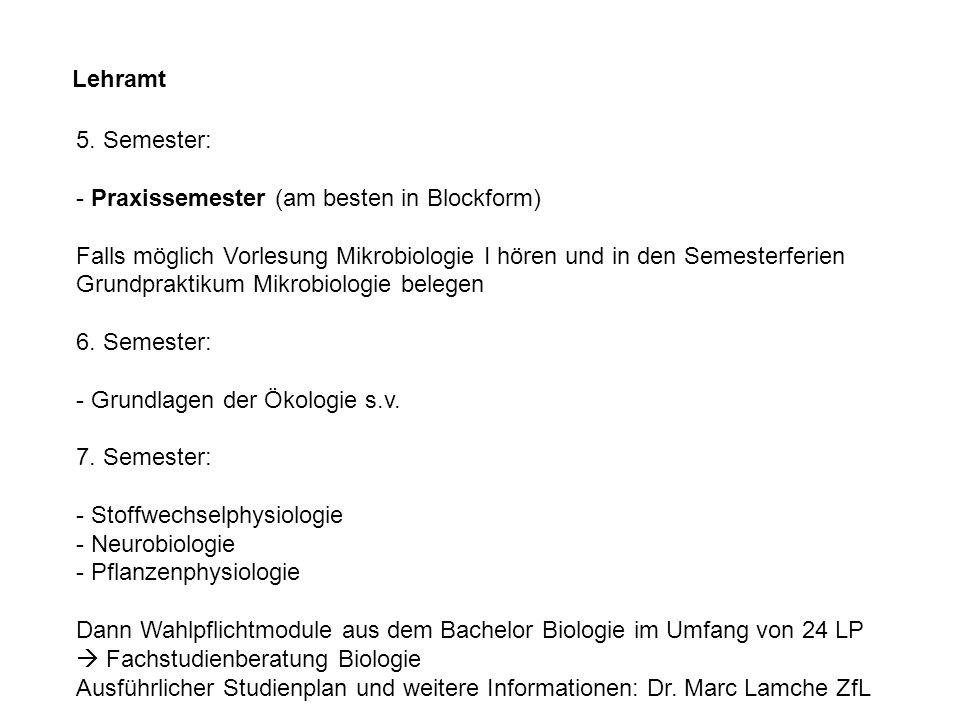 Lehramt 5. Semester: - Praxissemester (am besten in Blockform) Falls möglich Vorlesung Mikrobiologie I hören und in den Semesterferien Grundpraktikum