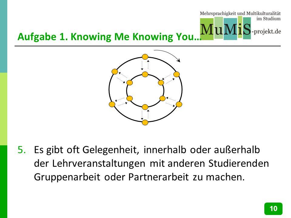 Aufgabe 1. Knowing Me Knowing You… 5.Es gibt oft Gelegenheit, innerhalb oder außerhalb der Lehrveranstaltungen mit anderen Studierenden Gruppenarbeit