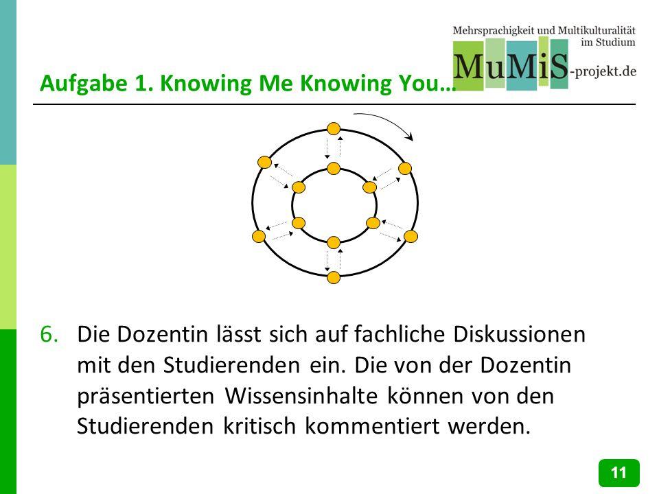 Aufgabe 1. Knowing Me Knowing You… 6.Die Dozentin lässt sich auf fachliche Diskussionen mit den Studierenden ein. Die von der Dozentin präsentierten W
