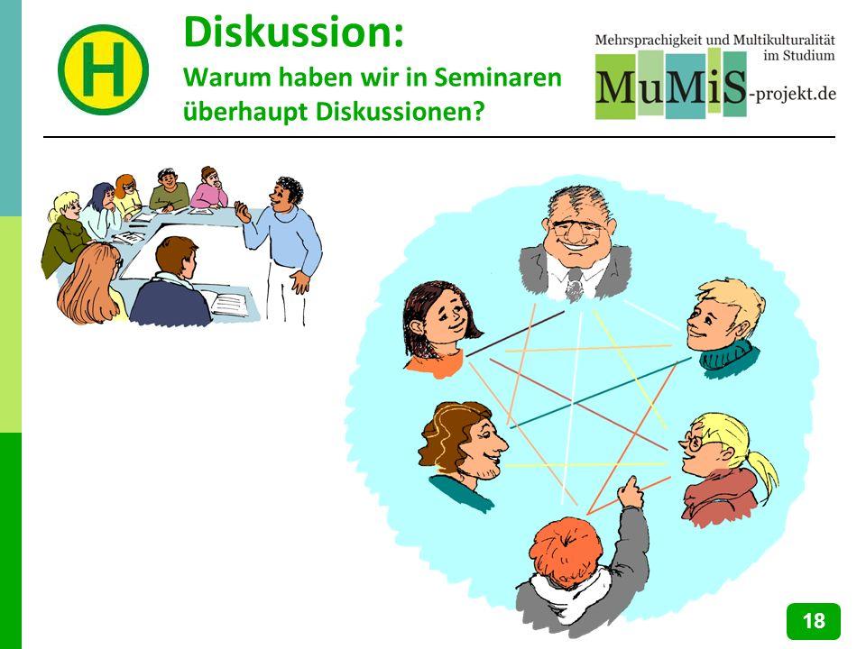 Diskussion: Warum haben wir in Seminaren überhaupt Diskussionen? 18