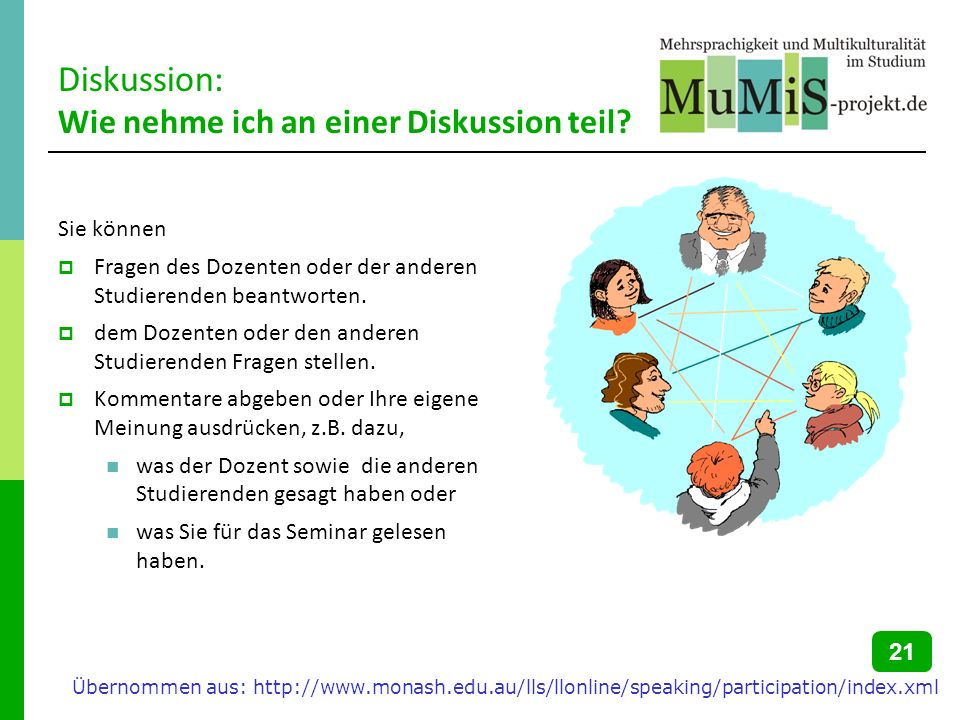 Diskussion: Wie nehme ich an einer Diskussion teil? Sie können Fragen des Dozenten oder der anderen Studierenden beantworten. dem Dozenten oder den an