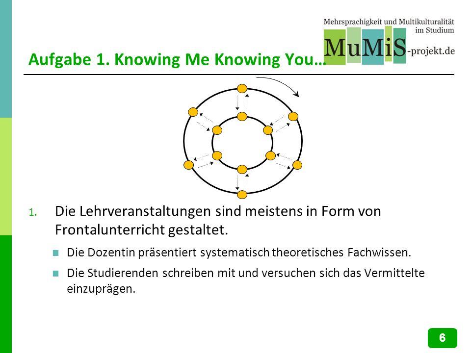 Aufgabe 1. Knowing Me Knowing You… 1. Die Lehrveranstaltungen sind meistens in Form von Frontalunterricht gestaltet. Die Dozentin präsentiert systemat