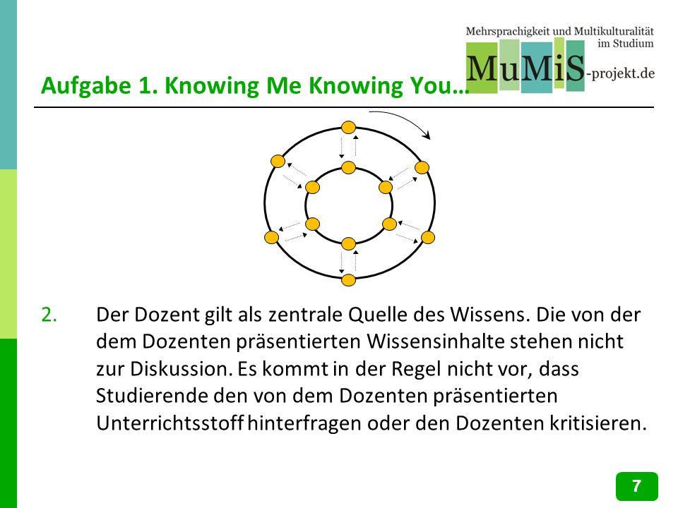 Aufgabe 1. Knowing Me Knowing You… 2.Der Dozent gilt als zentrale Quelle des Wissens. Die von der dem Dozenten präsentierten Wissensinhalte stehen nic