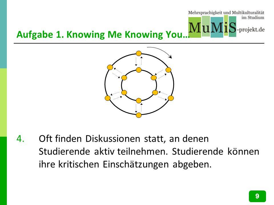 Aufgabe 1. Knowing Me Knowing You… 4.Oft finden Diskussionen statt, an denen Studierende aktiv teilnehmen. Studierende können ihre kritischen Einschät