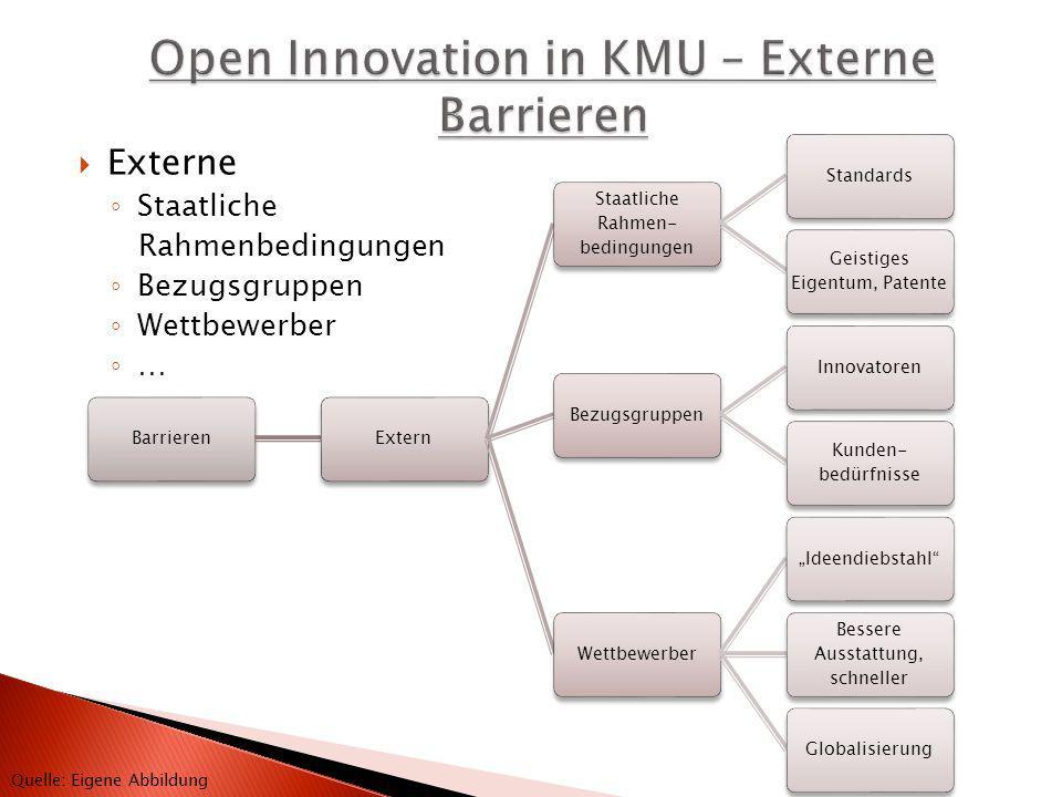 BarrierenExtern Staatliche Rahmen- bedingungen Standards Geistiges Eigentum, Patente BezugsgruppenInnovatoren Kunden- bedürfnisse WettbewerberIdeendie
