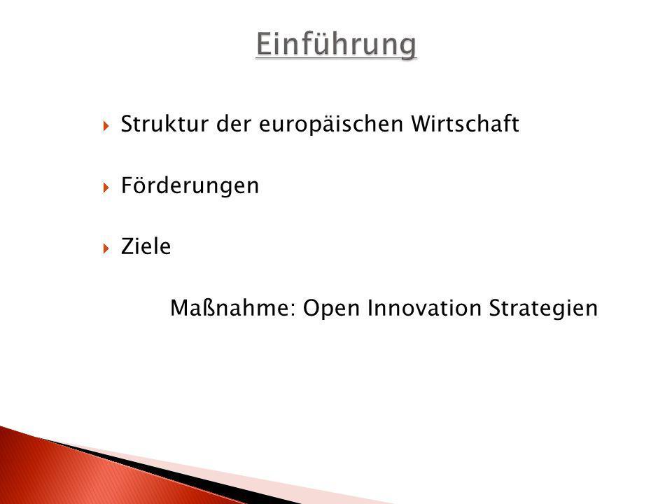 Struktur der europäischen Wirtschaft Förderungen Ziele Maßnahme: Open Innovation Strategien
