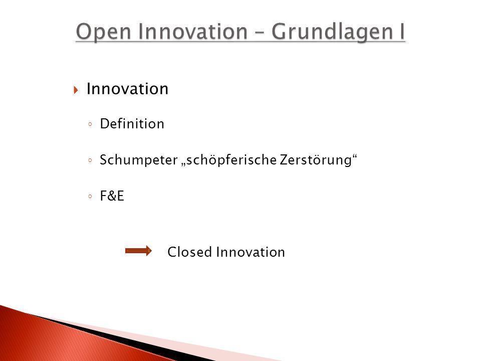 Definition Schumpeter schöpferische Zerstörung F&E Closed Innovation Innovation