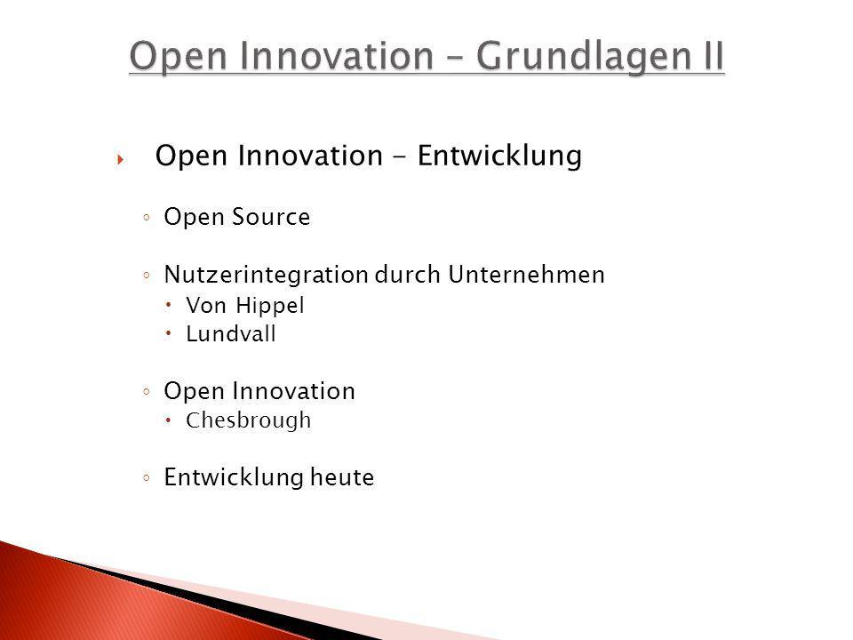 Open Innovation - Entwicklung Open Source Nutzerintegration durch Unternehmen Von Hippel Lundvall Open Innovation Chesbrough Entwicklung heute