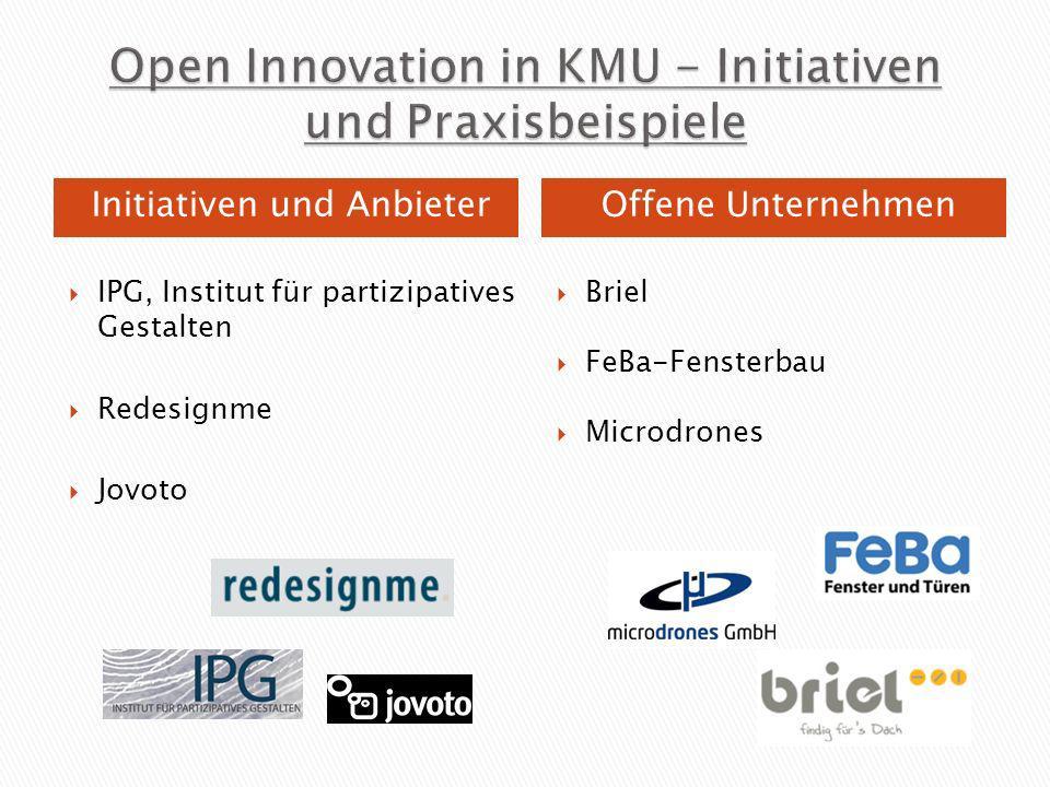 IPG, Institut für partizipatives Gestalten Redesignme Jovoto Briel FeBa-Fensterbau Microdrones Initiativen und AnbieterOffene Unternehmen