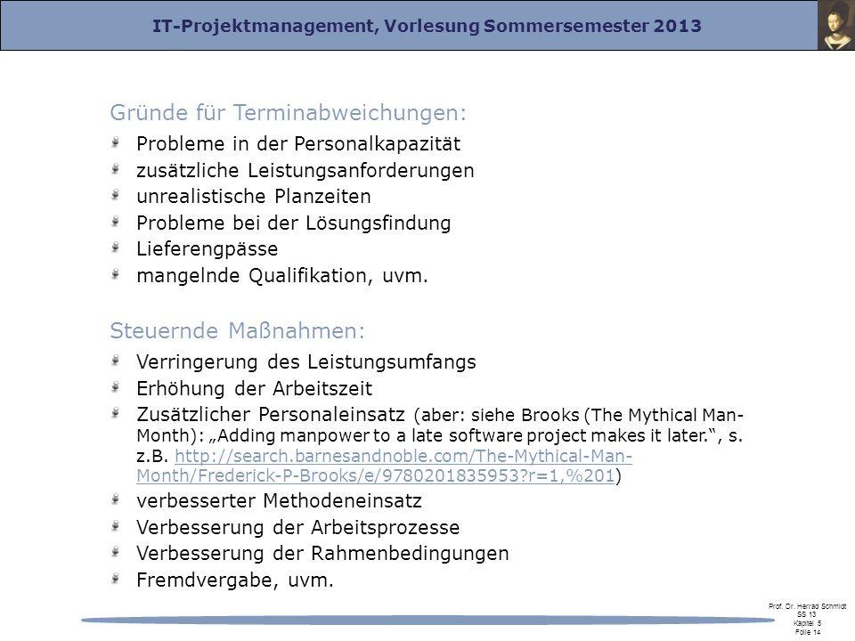 IT-Projektmanagement, Vorlesung Sommersemester 2013 Prof. Dr. Herrad Schmidt SS 13 Kapitel 5 Folie 14 Gründe für Terminabweichungen: Probleme in der P
