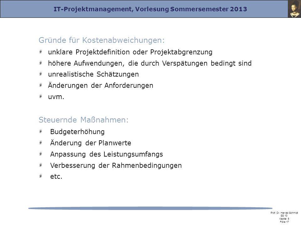 IT-Projektmanagement, Vorlesung Sommersemester 2013 Prof. Dr. Herrad Schmidt SS 13 Kapitel 5 Folie 17 Gründe für Kostenabweichungen: unklare Projektde
