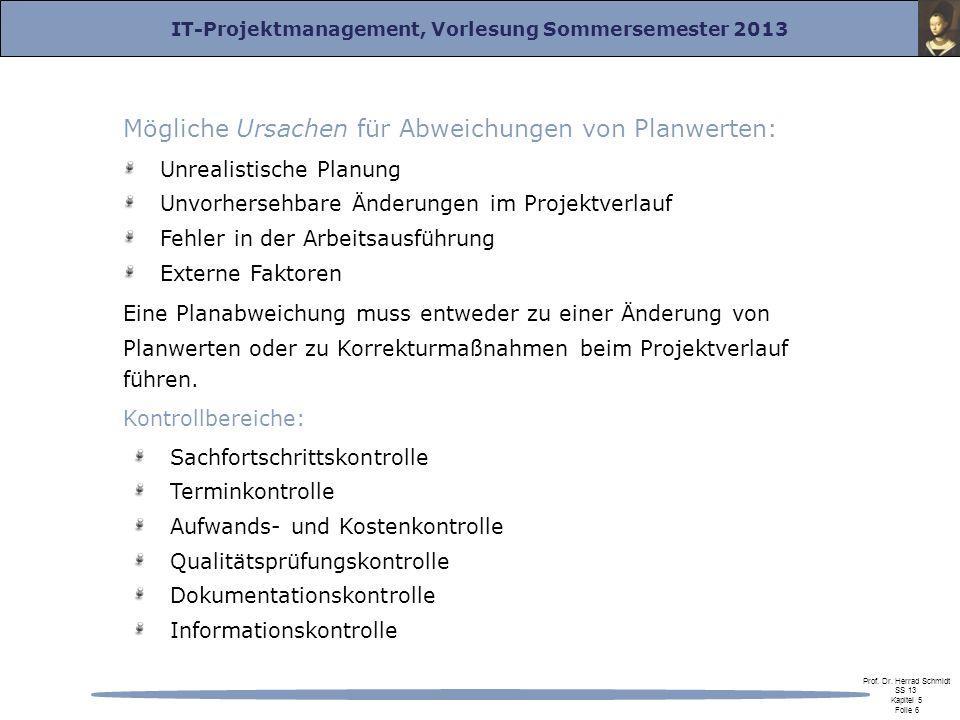 IT-Projektmanagement, Vorlesung Sommersemester 2013 Prof. Dr. Herrad Schmidt SS 13 Kapitel 5 Folie 6 Mögliche Ursachen für Abweichungen von Planwerten