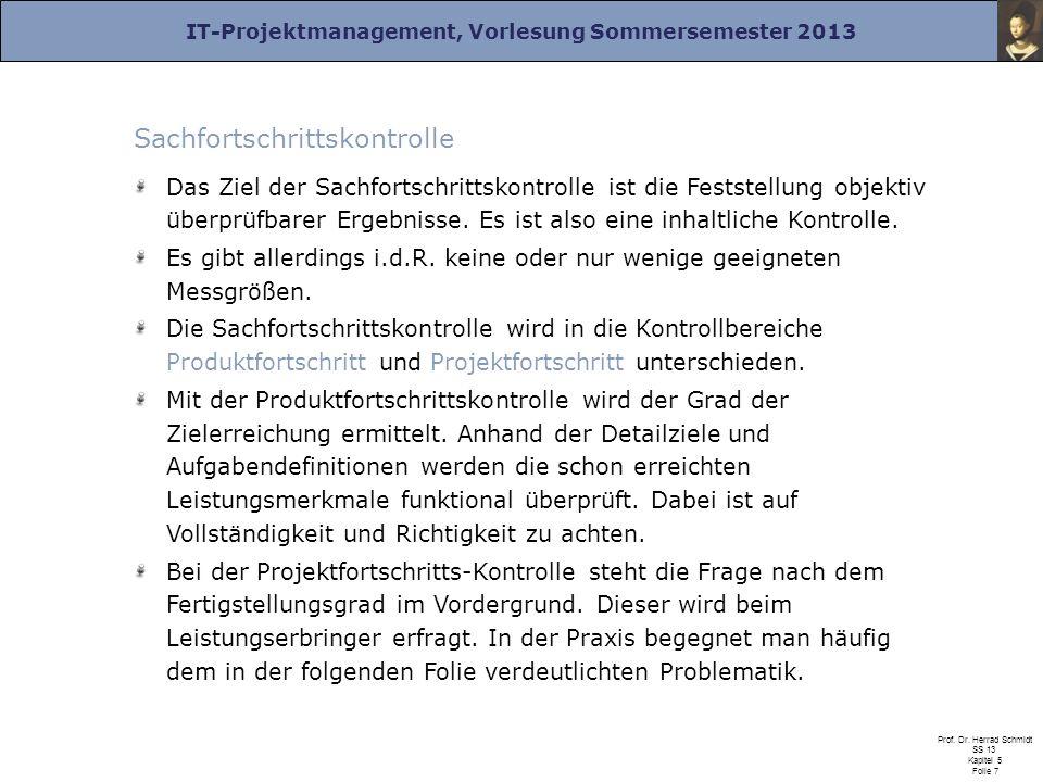 IT-Projektmanagement, Vorlesung Sommersemester 2013 Prof. Dr. Herrad Schmidt SS 13 Kapitel 5 Folie 7 Sachfortschrittskontrolle Das Ziel der Sachfortsc