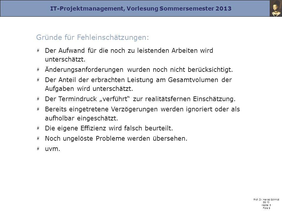 IT-Projektmanagement, Vorlesung Sommersemester 2013 Prof. Dr. Herrad Schmidt SS 13 Kapitel 5 Folie 9 Gründe für Fehleinschätzungen: Der Aufwand für di
